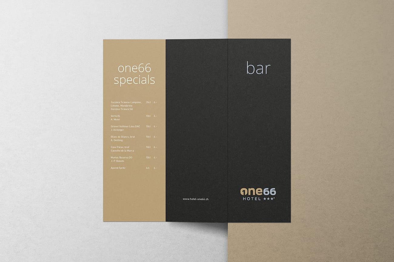 Barkarte Hotel one66 AG