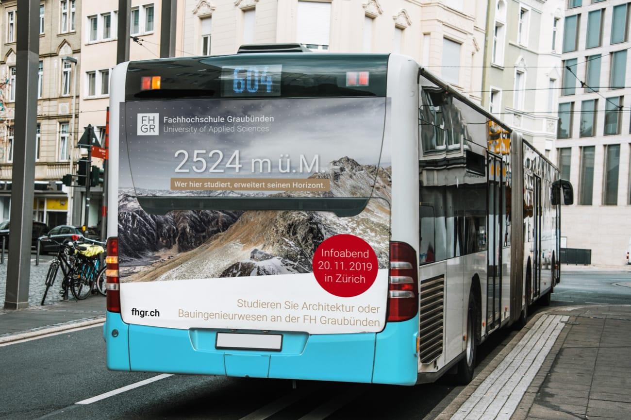 Buswerbung Fachhochschule Graubünden