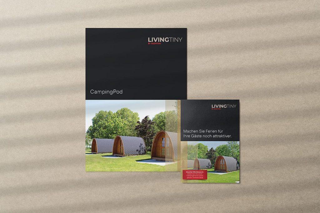 Produktblatt und Flyer CampingPod LivingTiny Glovital AG