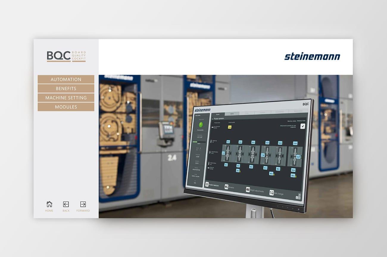Interaktive Präsentation Steinemann Technology AG Homescreen