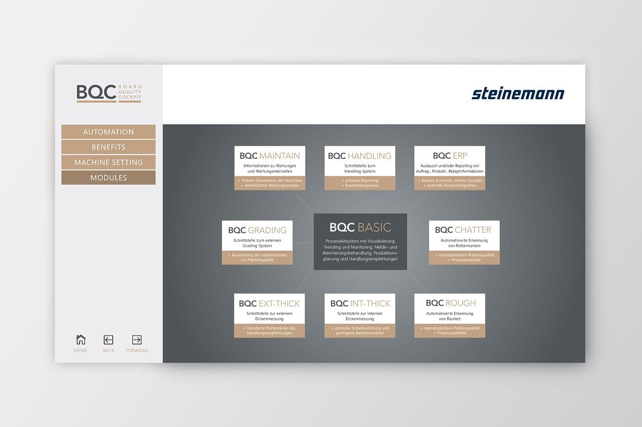 Interaktive Präsentation Steinemann Technology AG Modulseite