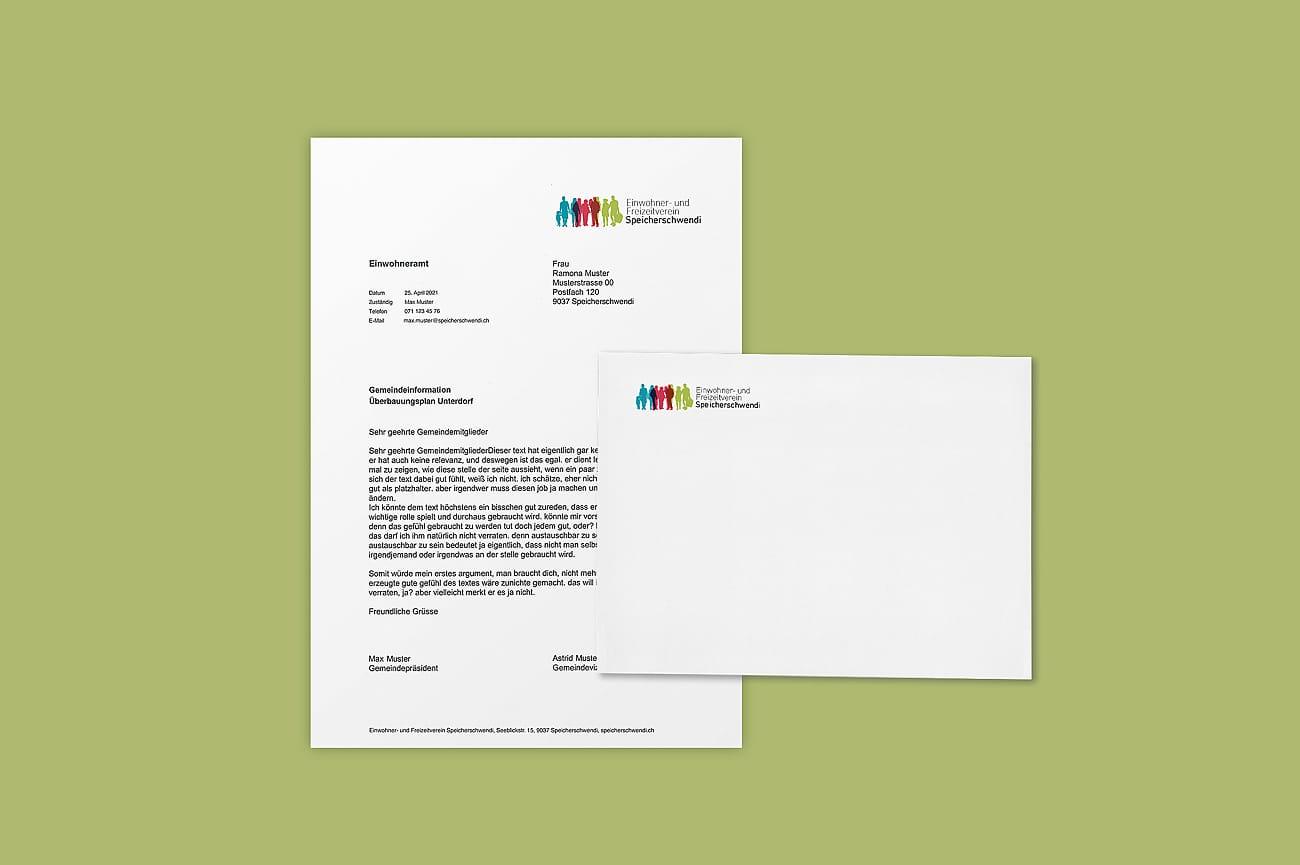 Briefschaften für Einwohner- und Freizeitverein Speicherschwendi