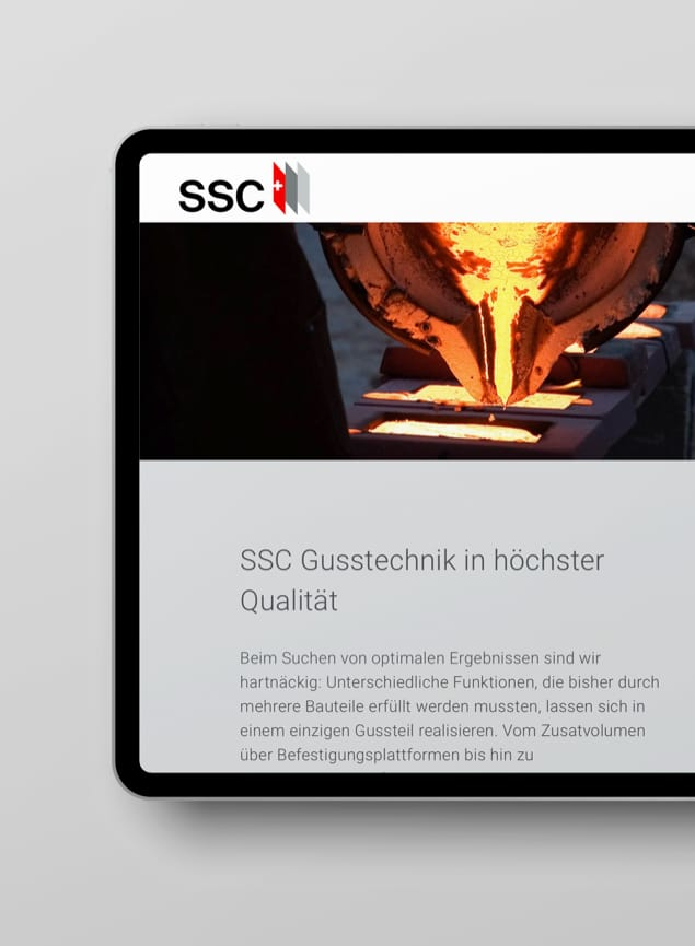 Unterseite Tablet Website SSC Swiss Shielding Corporation AG
